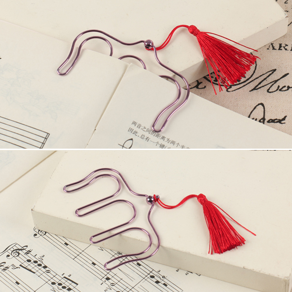 Home Improvement Novelty Hollow Metal Music Piano Book Clip Bookmark Page Paper Holder Memo Clips With Tassel School Office Stationery Bathroom Hardware