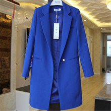 Plus Size Spring Autumn Solid Female Elegant Women Long Suits Blazer