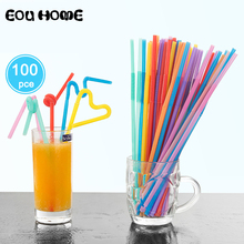100PC/Pack Flexible Plastic Mixed Colours Party Disposable Drinking Straws Kids Birthday Wedding Decoration Event Supplies