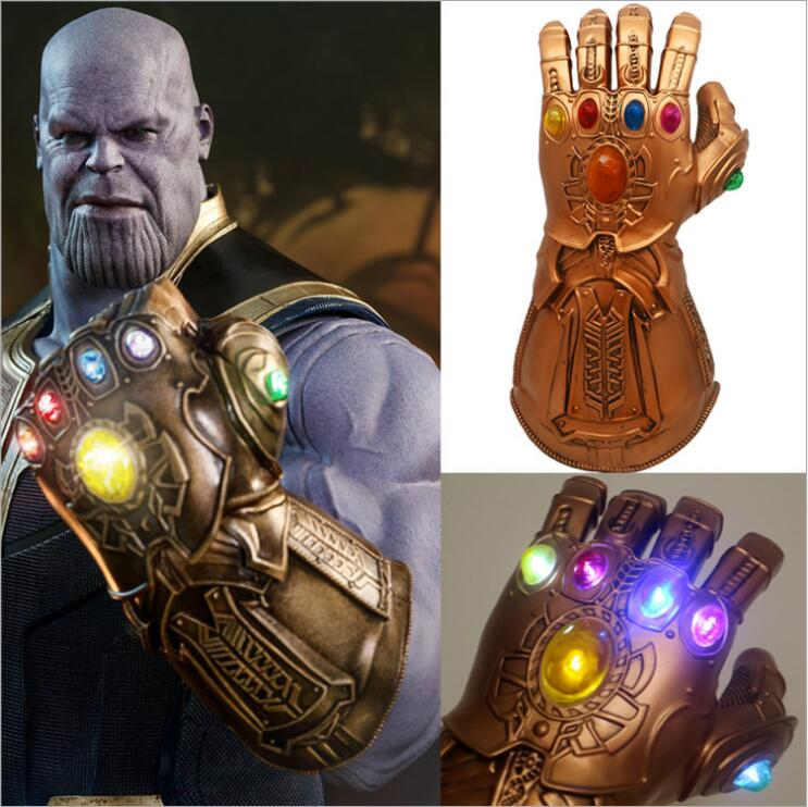 New  Halloween 1:1 Avengers Infinity War Thanos Infinity Gauntlet LED Light PVC Gloves for Halloween Props drop Ship