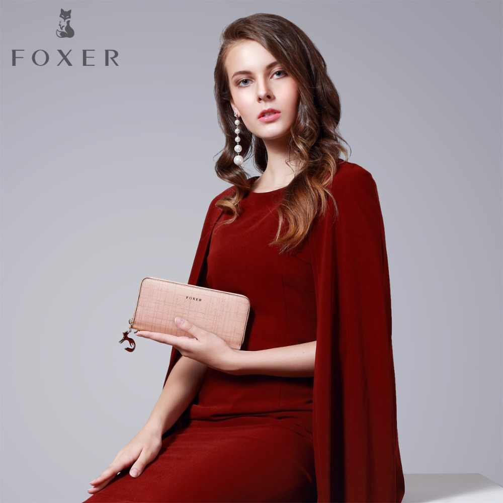FOXER נשים פרה עור ארוך ארנק האופנה Wristlet מצמד ארנק נייד תיק עם רצועת יד ארנקים לנשים