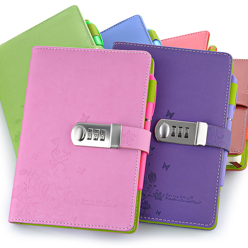NEW Leather Notebook A5 Personal diary with lock code Personal Notepad stationery Products Supplies gift new personal diary with lock code spiral leather notebook business thick notepad customized office school supplies gift