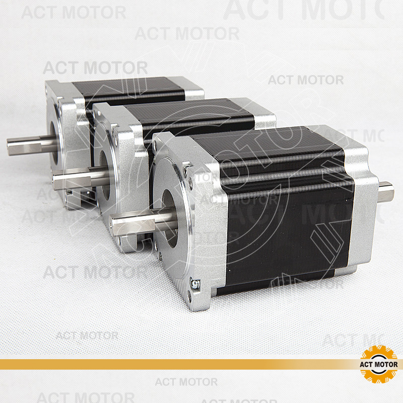 ACT Motor 3PCS Nema34 Stepper Motor 34HS1456B Dual Shaft 4-Lead 1232oz-in 118mm 5.6A Bipolar CE ISO ROHS Engraving Plasma