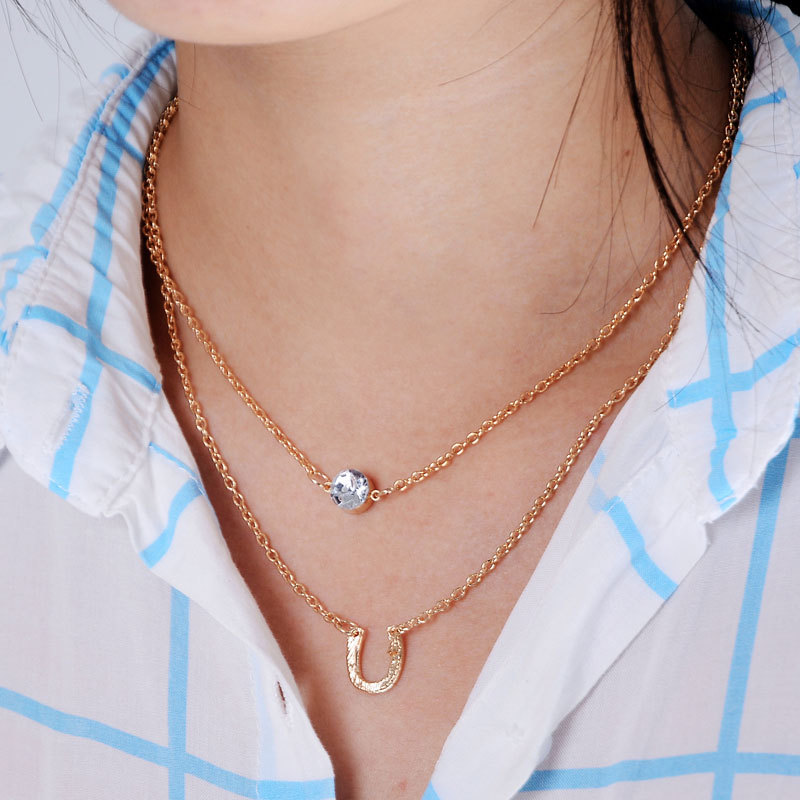 Best ᗛNew Fashion Gold Double Chain Necklace Crystal Round Pendant  SK21