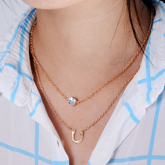 New Fashion Gold Double Chain Necklace Crystal Round Pendant Necklace Lady  Jewelry U Shape Pendant Multi 368d60a022a6
