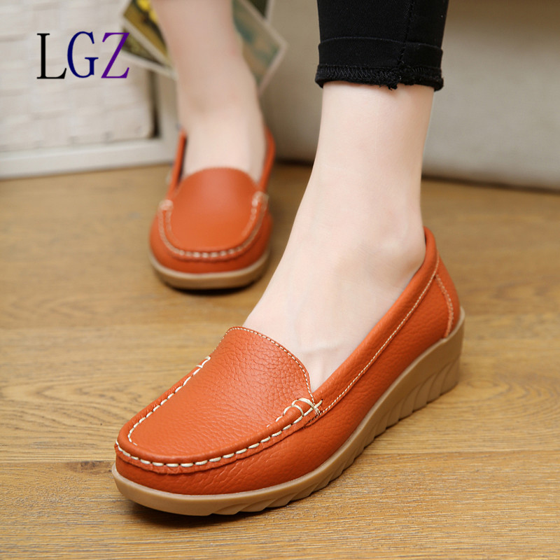 2016 Genuine Leather font b Women b font Flats Shoe Fashion Casual Lace up Soft Loafers