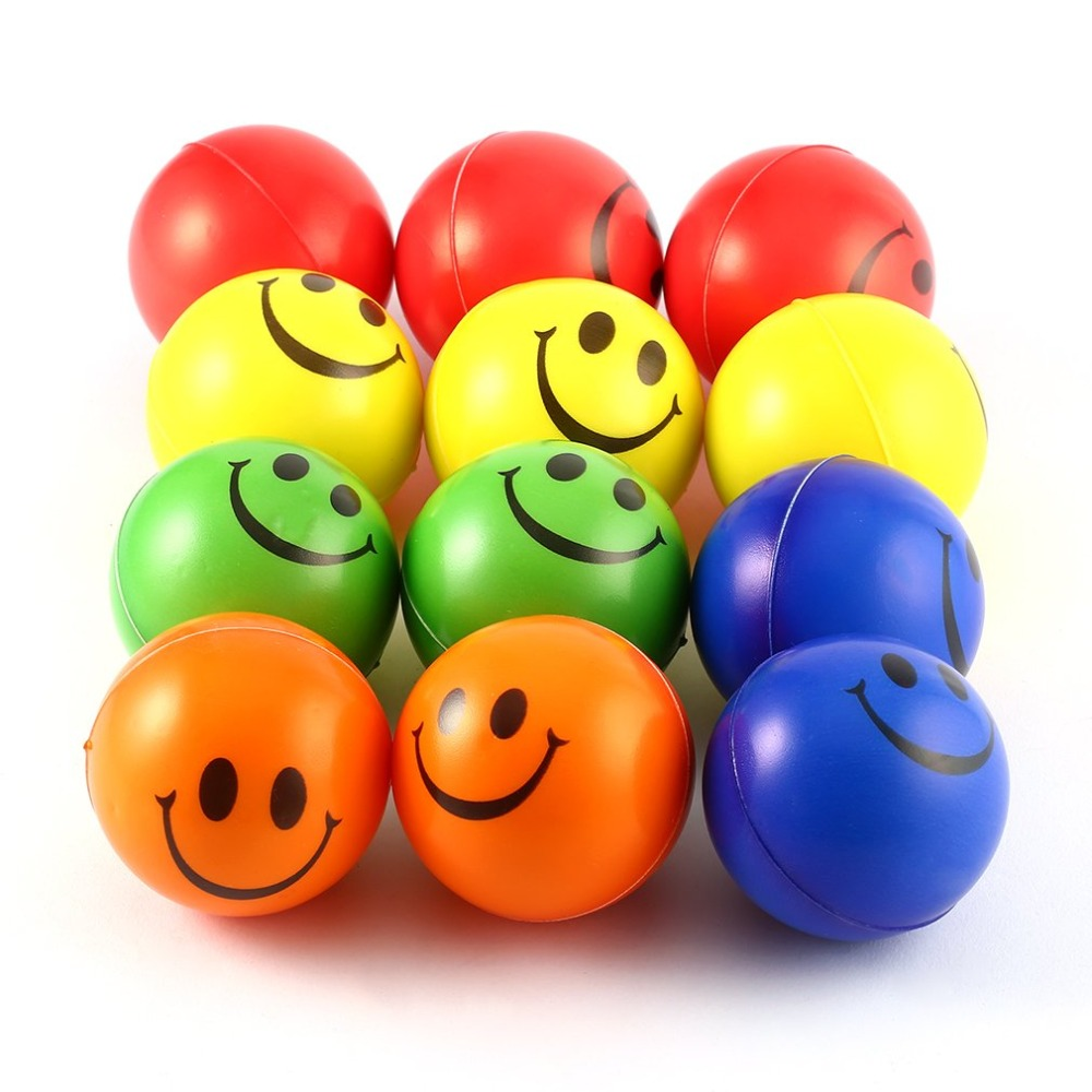 12pcs/lot Squeeze Balls Smile Face Modern FUN Stress Relax Emotional Hand Wrist Exercise Anti-stress Balls Toys For Children