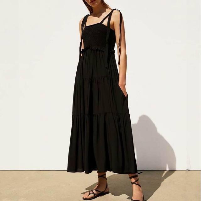 766782fa35f75 Discounted Women Black Dress Summer 2019 New Fashion Vintage Style ...
