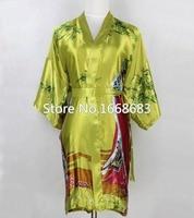 De alta qualidade verdes mulheres chinesas Robe de seda Sleepwear curto Sexy Lingerie Kimono vestido de Pijama Plus Size sml XL XXL XXXL NR033