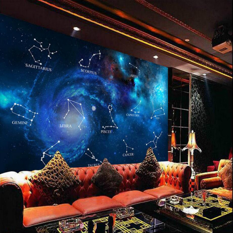 Custom Made 3d Wallpaper for Walls Bar Blue Star Twelve Constellation Decorative Painting Wallpapers Silk Home Improvement managing projects made simple