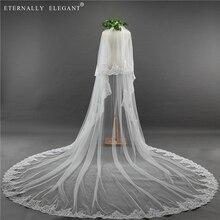 2018 New 2 Layers Wedding Veil 3.5m Long Comb Lace Mantilla Cathedral Bridal Veil Wedding Accessories Veu De Noiva EE5003