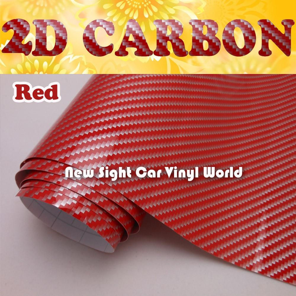 Rojo alto brillo 2d carbono Fibra WRAP Películas canal de aire para las etiquetas engomadas del coche tamaño: 1.52*30 m/rollo