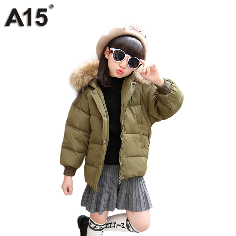 A15 Children Down Jacket Russia Winter Jacket For Girls Thick Duck Down Kids Outerwears Boys Winter Jacket 2017 New Brand Hooded new 2017 winter baby thickening collar warm jacket children s down jacket boys and girls short thick jacket for cold 30 degree