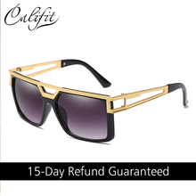 CALIFIT Flat Top Sunglasses Men Classic Brand