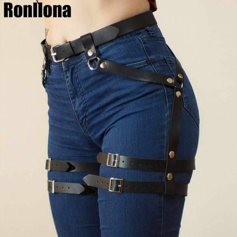 Women's Belt For Stocking Garters Female Faux Leather Harness Leg Cage Body Bondage Adjustable Harajuku Garter Belt Harness Punk