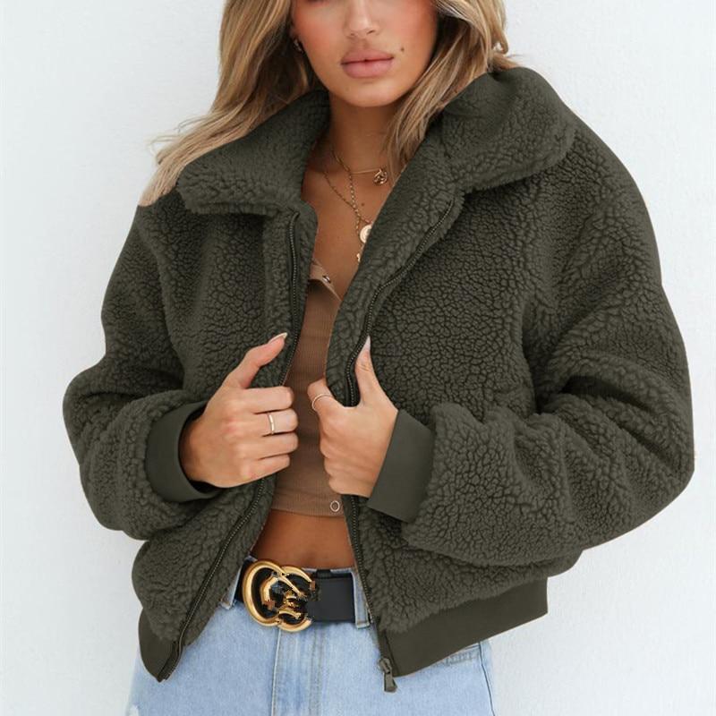 36e3cda7bbea3 SEXEMARA Warm Woolen Coat Women 2018 Fall Winter Fashion Zipper Fleece  Jacket Streetwear Teddy Bear Coats Outwear C78 AE39-in Wool & Blends from  Women's ...