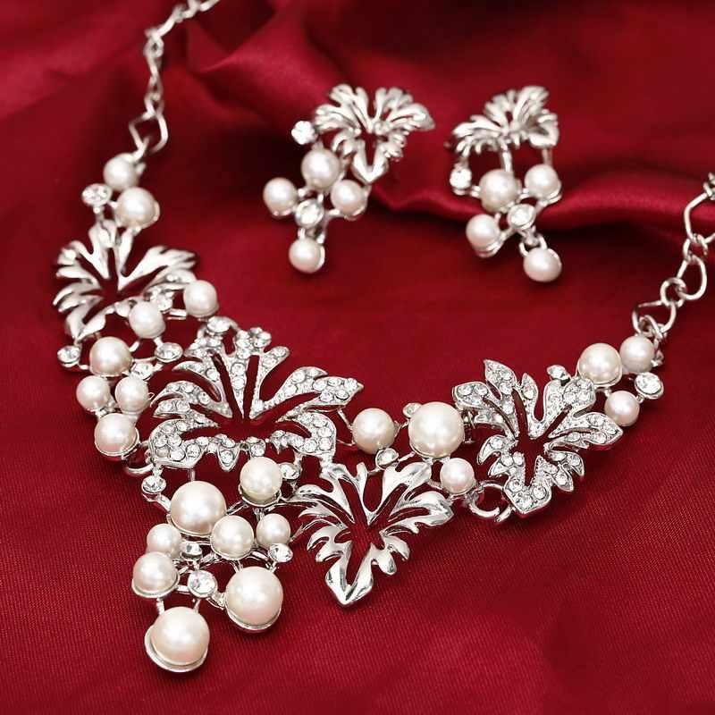 43659ce0f2f5 De Oro de moda conjunto de joyas de plata de declaración de pendiente de  collar de