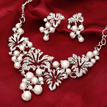 Fashion Gold Silver Jewelry Set Statement Necklace Earring Imitation Pearl Jewelry Set For Women Flower Wedding Jewelry sets(China)