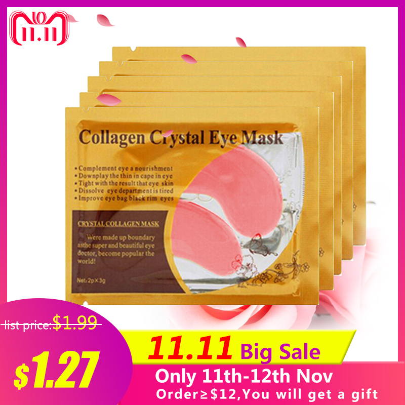 10pcs=5packs Eye Mask Crystal Collagen Eyes Mask Patches for Eye Care Mask Anti-puffiness Eyelid Patch Anti-Wrinkle Gel Eye Pads