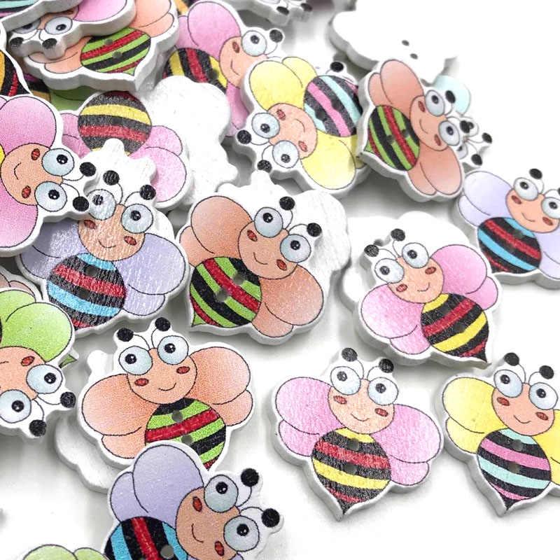 10/50/100 pc mezcla de animales abeja chico/bebé botón de madera bricolaje artesanal costura WB402