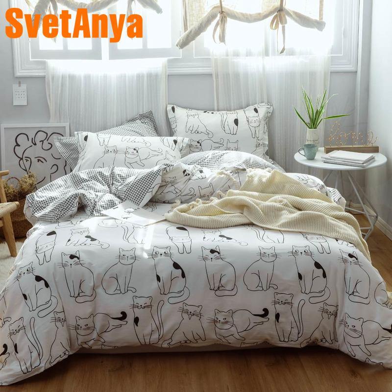 Svetanya Cats Pattern Home Bedding Set 100 Cotton sheet pillowcase Blanket Cover bedlinens