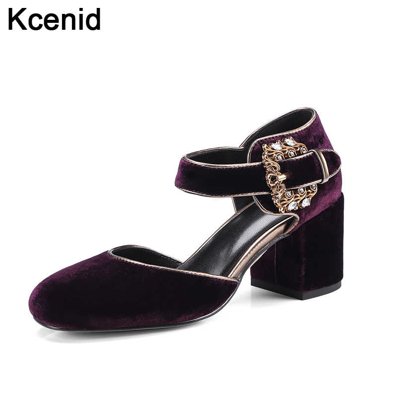 Kcenid New popular purple women pumps round toe high heels velvet shoes  ankle strap vintage rhinestone d36308ee49f3
