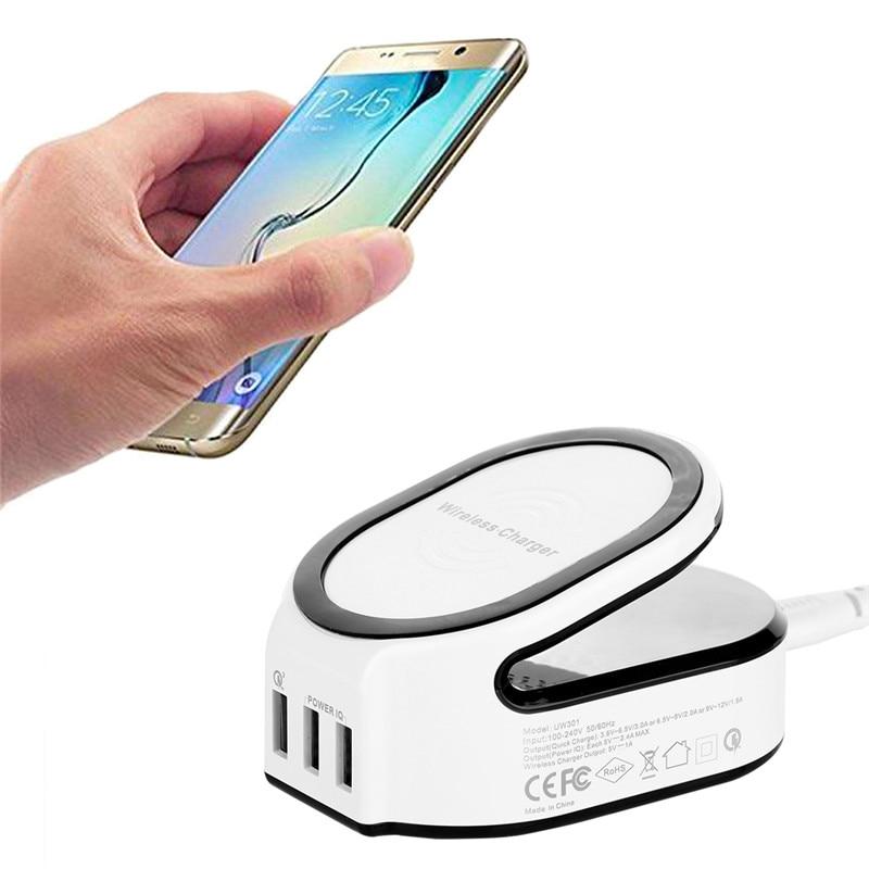 imágenes para 3 en 1 Cargador Inalámbrico de Carga Inalámbrica Pad 50 W 10A/Cargador Rápido 3.0/Estación de Carga para iPhone iPad Samsung HTC