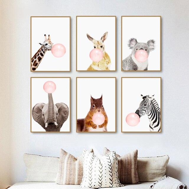 modern pink balloon nordic cartoon zebra cute kids room decor art rh aliexpress com
