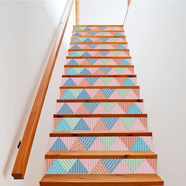 Yazi 6PCS Geometry Self Adhesive Stair Sticker Vinyl Stairs Refurbished  Wall Sticker Stairway Decor 18x100CM