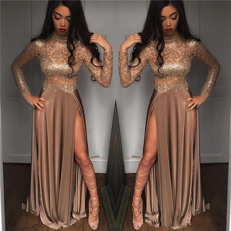 2019 African Gorgeous Beaded Champagne Sequined Evening Dresses Long Sleeves Prom Gowns Vestidos Special Occasion Dresses