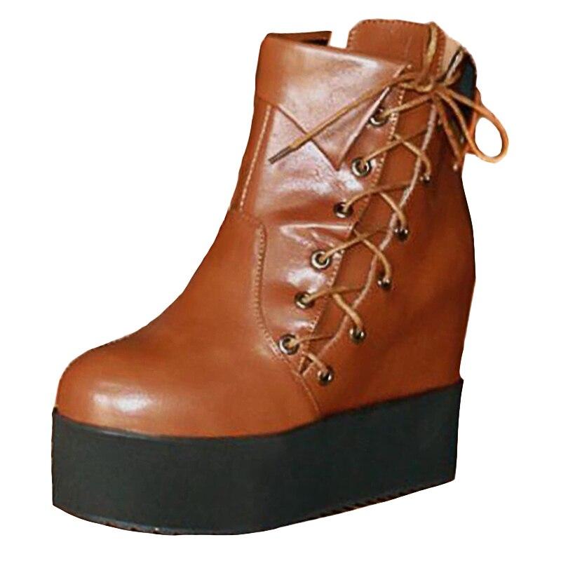 Croissante fushia Rond Courte Sjjh Grande Noir Bout Avec Plate Casual Hauteur À Femmes Botte Automne Chaussures Cheville Brown light Bottes Mode forme Lacets Taille A1051 xSxzw0