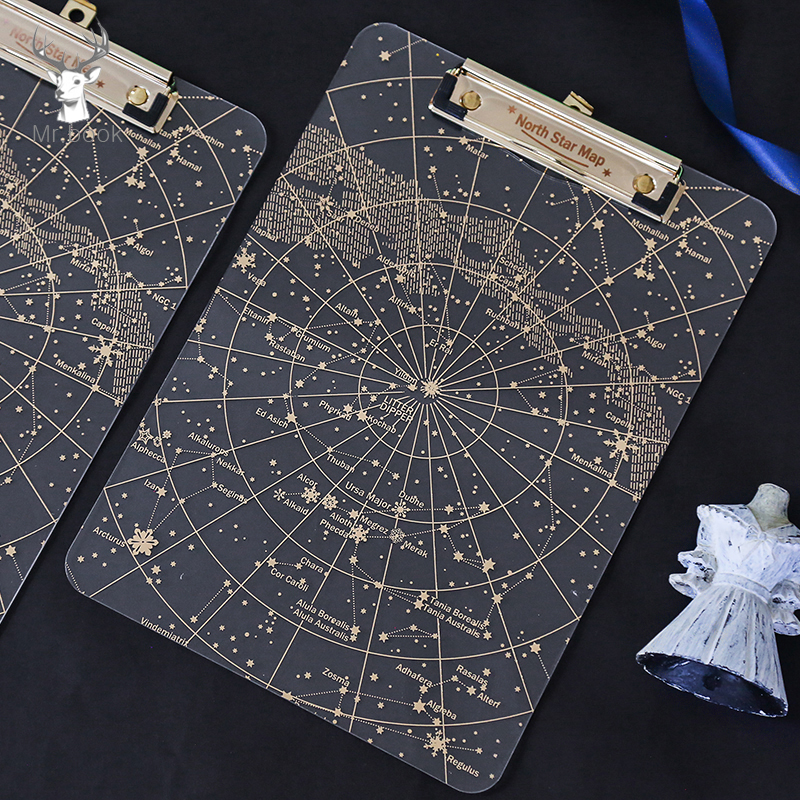 Transparent Starry Sky A4 Document File Folder Clip Board Student Stationery Plastic Writing Hard Board School Supplies