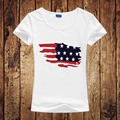 New Fashion Design Women's T Shirt US Flag Map American Flag Graphic Printed Top Tees Harajuku T-Shirt Femme Camiseta Size S-2XL