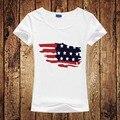 Novo Design de Moda Camiseta EUA Mapa Da Bandeira Americana das Mulheres Gráfico da bandeira Impresso Top Tees Harajuku T-Shirt Femme Camiseta Tamanho S-2XL