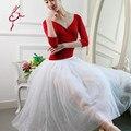 Gimnasia leotardo ballet tutu gimnasia leotardo danza nuevo espectáculo de nuevo rojo de manga larga de algodón Lycra Mono honda