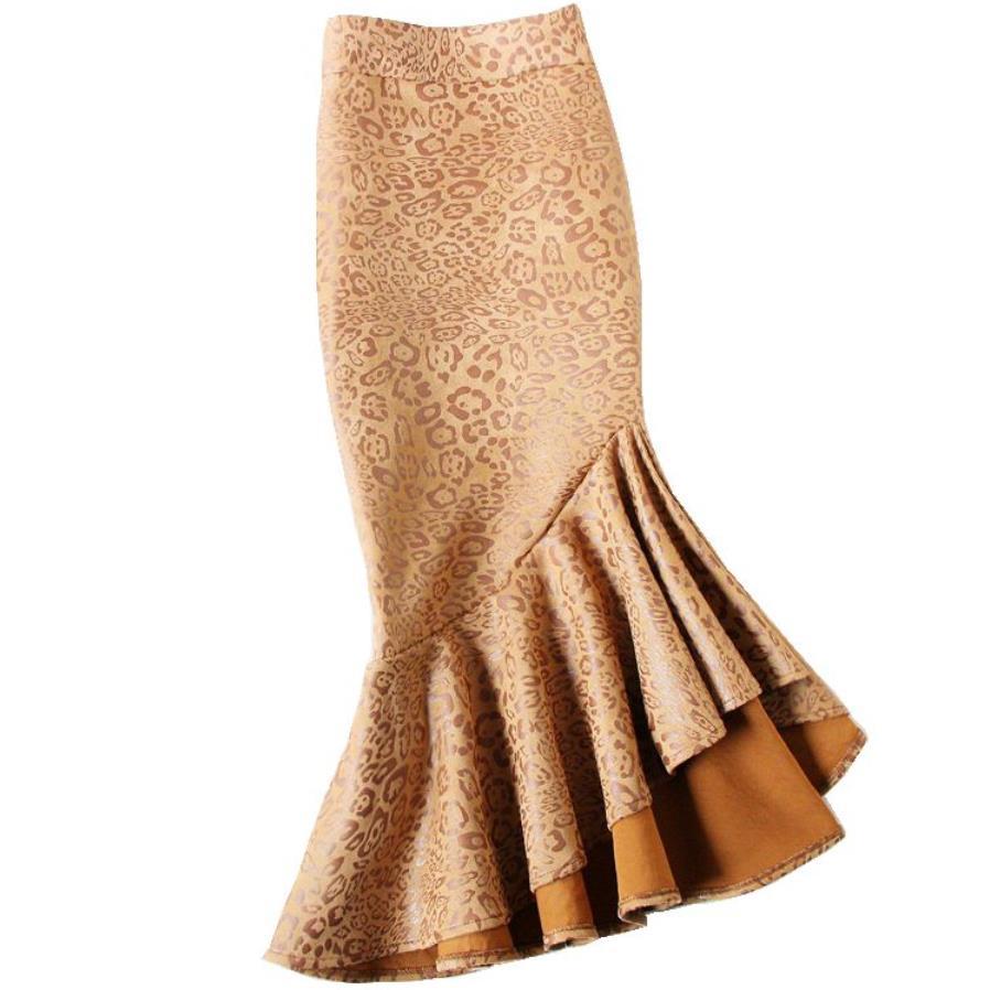 569e61874 Irregular con volantes de gamuza impreso falda de cola de pescado de  Mujeres de cintura alta de ...