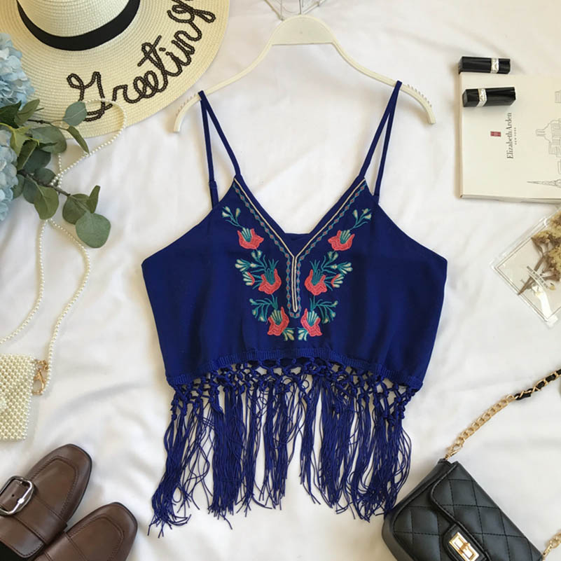 NiceMix 2019 New Fashion Summer Womens National Wind Flowers Embroidered Sexy Tops V-collar Tassels Decorated Bohemian Camisole