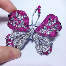 S925 Sterling Silver Accessories Female Red Butterfly Brooch Brooch Pin Luxury Atmosphere Coat Cardigan Simple Temperament
