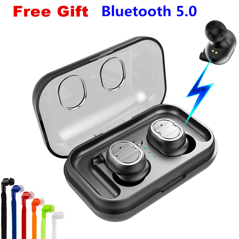 E-XY Twins Mini 3D Stereo Sound 5.0 Bluetooth Earphones & Headphones True Wireless Waterproof Sport Earbuds with Power bank