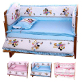 Hot 100*60CM Baby Bedding Sets Include Pillow Bumpers Mattress,Mickey Minnie Mouse Baby Cot Bedclothes Decoration,5pcs In 1 Set