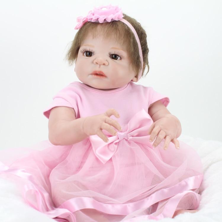 55cm Full Body Silicone Reborn Baby Doll Toys Lifelike Baby-Reborn Princess Doll Child Birthday Christmas Gift Girls Brinquedo