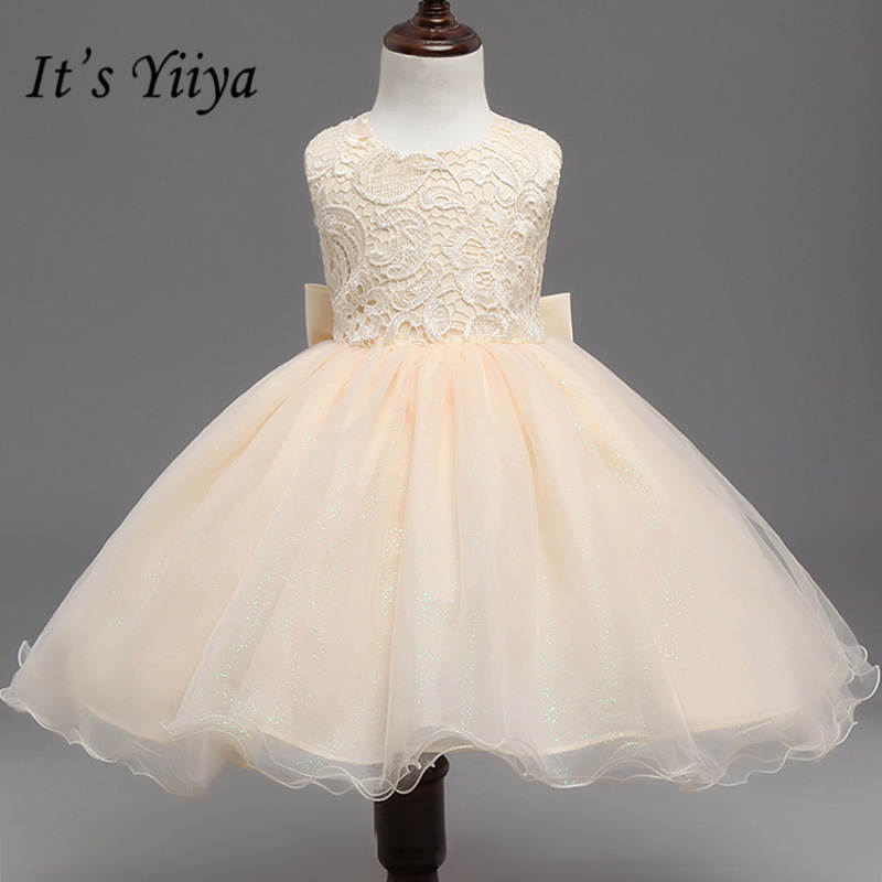 It's yiiya New Fashion Big Bow Flower Girl Dresses Elegant O-neck Yellow Girl Dress B008