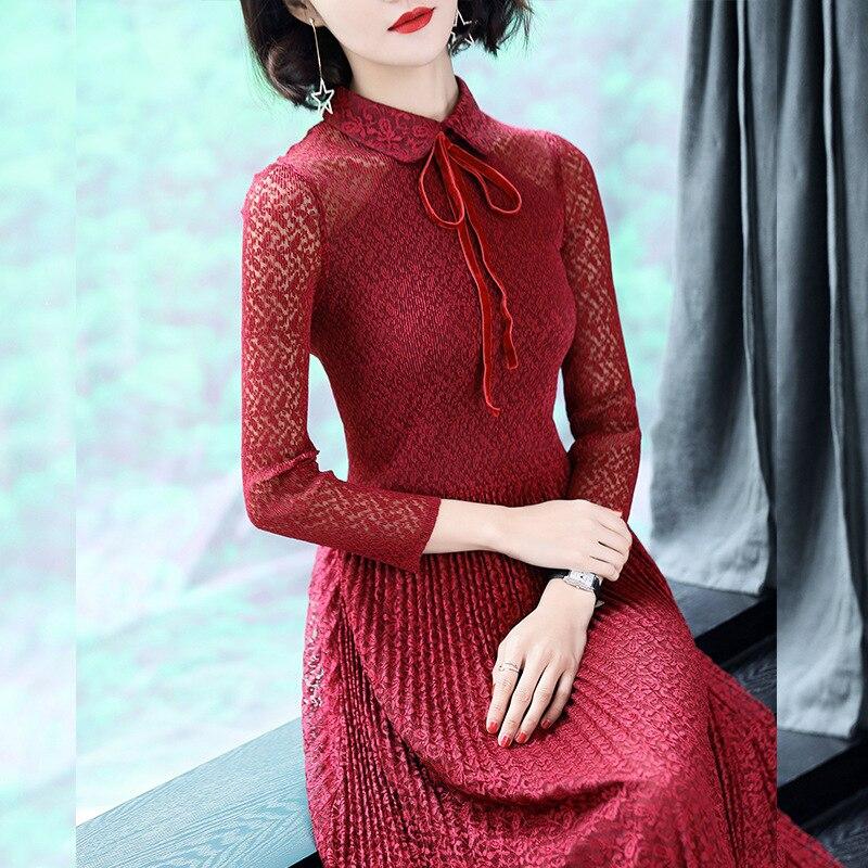 Nuevo La Primavera Moda Pieza Tamaño Boda Encaje Señora Plisado Black Elegante Popular De Vestido Libre Mujer navy Otoño Una red pqq7rSt