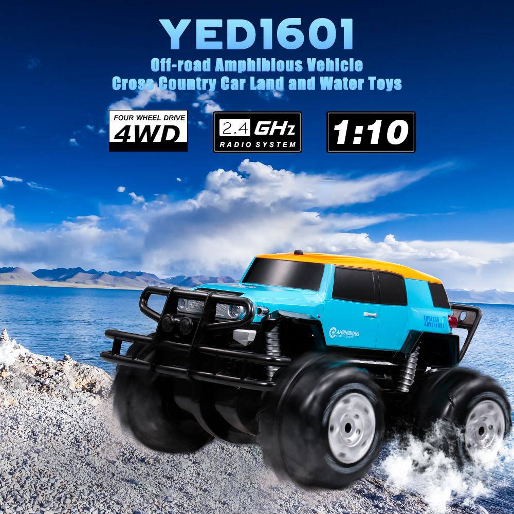 RC Car 1601 1:10 2.4Ghz 4WD Big Wheel Off-road Amphibious Vehicle Cross Country Cars Land Water Toys for Children Beginners road trip usa eighth edition cross country adventures on america s two lane highways