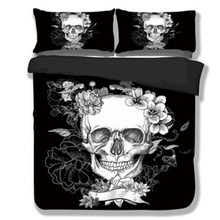 3D Skull Bedding set Black and White Duvet Covers for King/Queen Size Bed Europe Style Sugar Skull Bed Set Sheet Duvet Cover