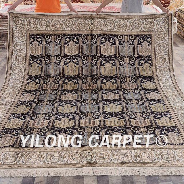 Yilong 8 X10 Vantage Traditional Persian Rug Antique Black Kashmiri Handmade Carpet Lh438b8x10