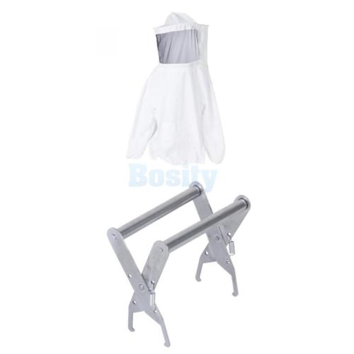 Beekeeping Jacket Veil Suit +Bee Hive Frame Holder Lifter Capture Grip Equipment 2pcs new 41x6cm bee hive sliding mouse guard travel gate beekeeping equipment