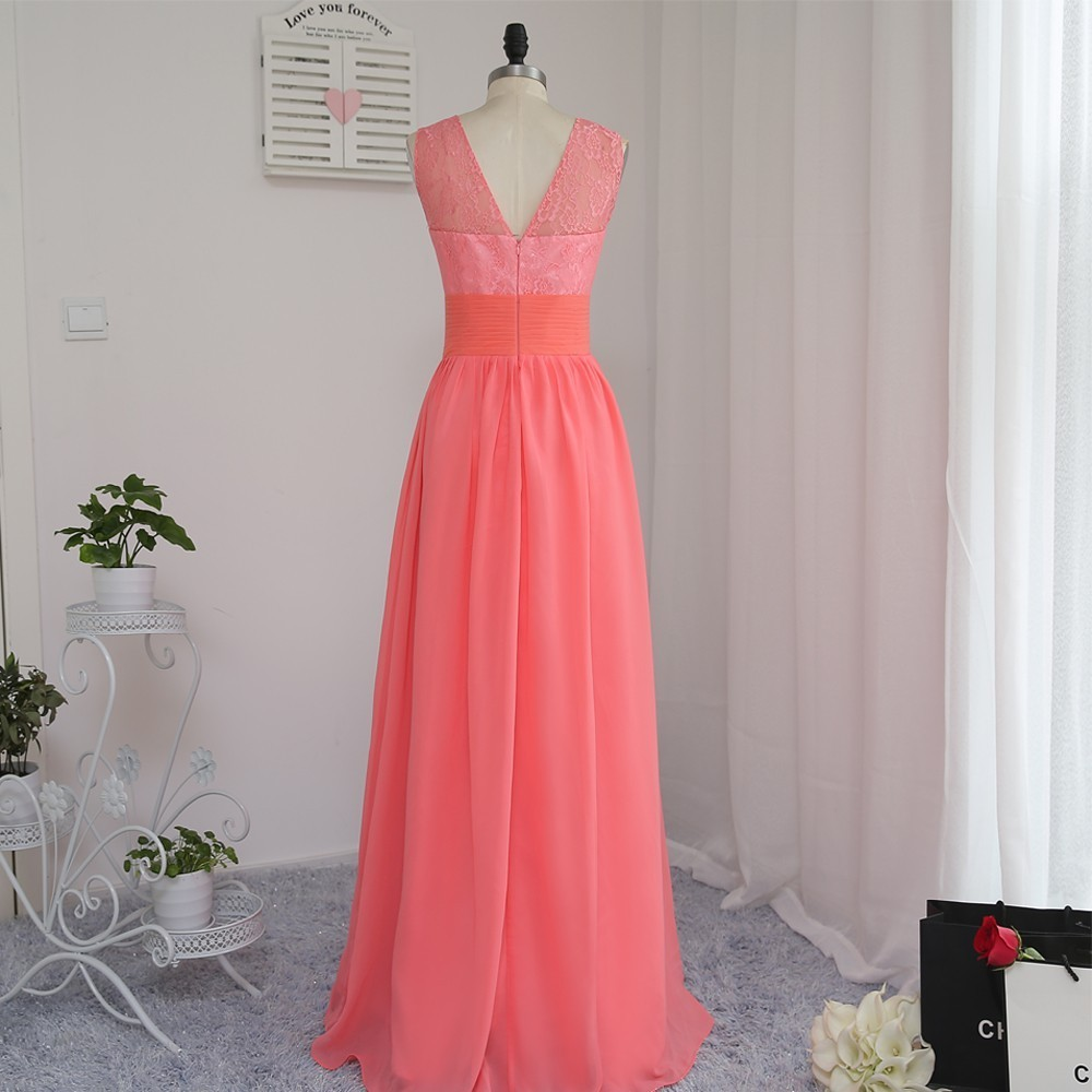 A-line Scoop Floor Length Coral Chiffon Lace Bridesmaid Dress