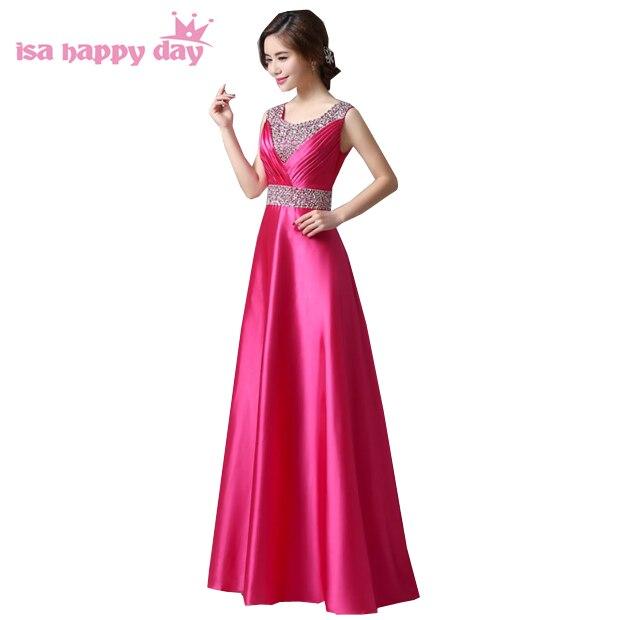 Vêtements modestes élégant rouge v neck satin une ligne chaude rose robes perlée mariée servantes dreses pour la partie de mariage occasions h118