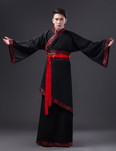 Black Long Robe for Men Chinese Traditional Costume Male Hanfu Captain Clothing National Tang Dynasty Stage Dance Costume 89